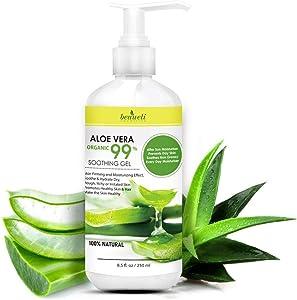 Beaueli Aloe Vera gel, Aloe Hand gel, After Sun, Dry Skin, Psoriasis, Acne Sensitive Skin, Natural Pure Aloe Cream, Daily Moisturizer Aloe Soothing Gel For Face, Body and Hair