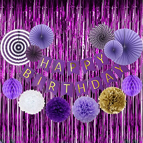 Birthday Party Decoration Set Purple Happy Birthday Bunting Banner Purple Gold White Tissue Paper Pom Poms Flowers Party Hanging Paper Fans Honeycomb Ball and Set of 2 Shiny Purple Foil Fringe Curtain]()