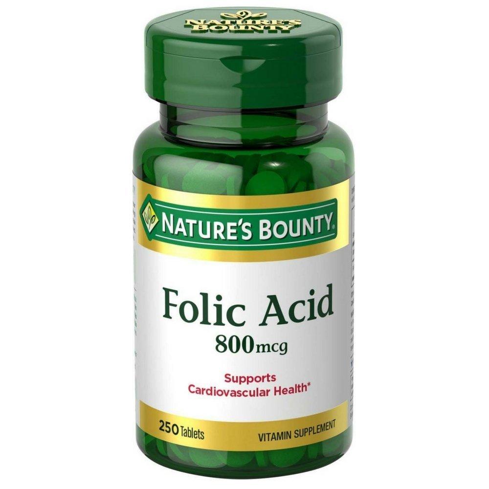 Nature s Bounty Folic Acid 800 mcg Tablets Maximum Strength 250 ea Pack of 6