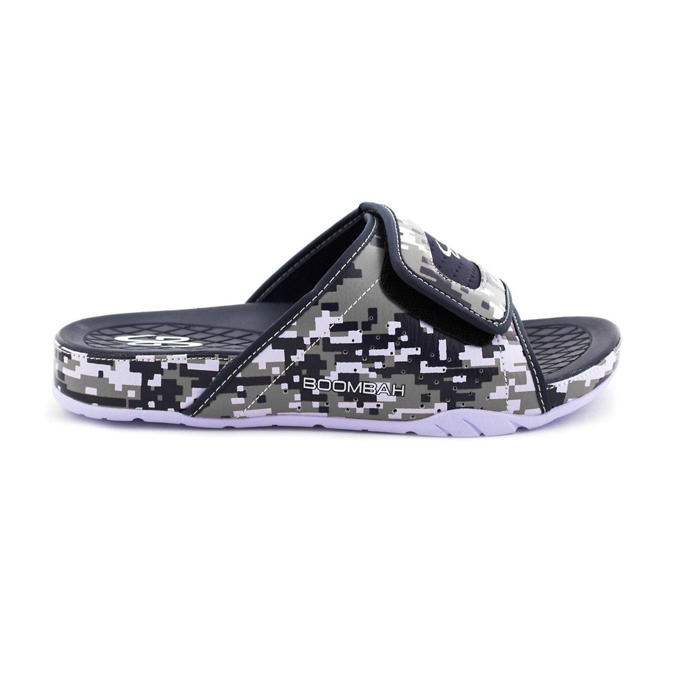 Boombah Men's Tyrant Digital Camo Slide Sandals - 11 Color Options - Multiple Sizes B077NM1LLR 12|Navy/Gray