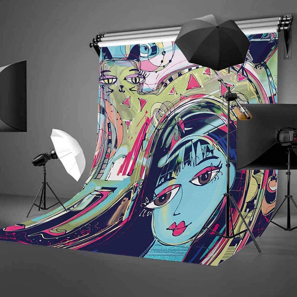 Modern Art 10x12 FT Backdrop Photographers,Funk Style Avatar Woman with Cat on Her Head Graffiti Unusual Human Humor Art Background for Baby Shower Bridal Wedding Studio Photography Pictures Multicol