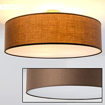 Moderne Deckenlampe Foggia Mit Stoffschirm In Braun   Deckenlampe Mit  Textilem Lampenschirm   Ø 60 Cm