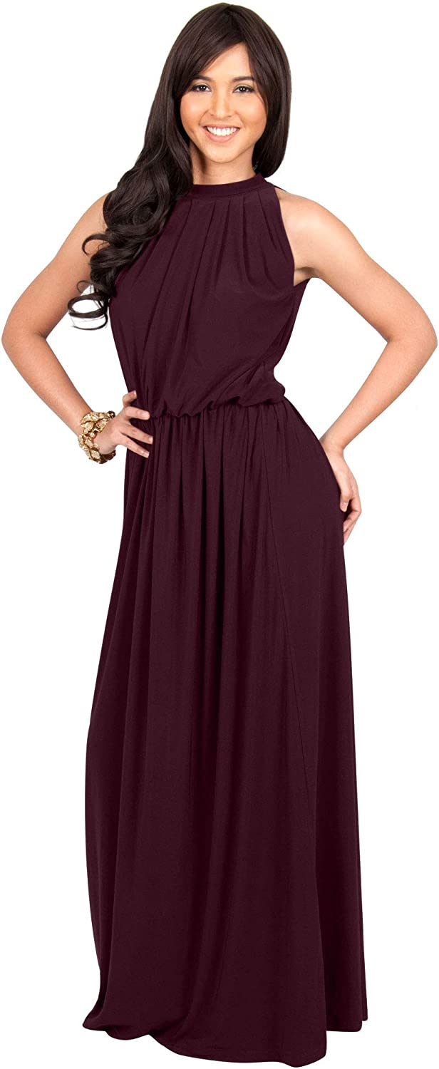 KOH KOH Sexy Sleeveless Summer Formal Flowy Casual Gown at  Women's Clothing store