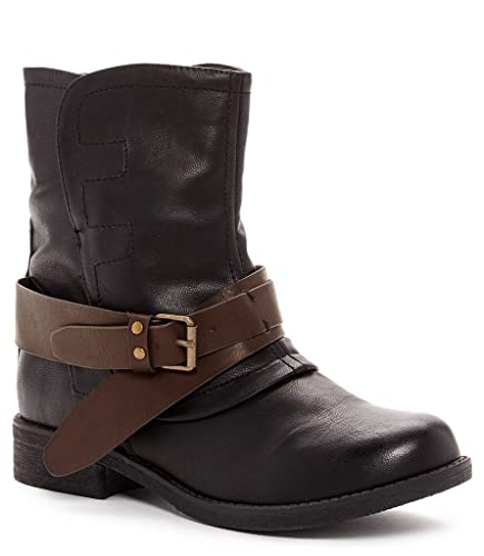 Rocoe Womens Fashion Buckle Strap Ankle Boots