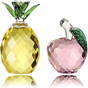 Crystal Apple Pineapple Set Figurine Paperweight, Handmade Statue Ornament Home Decoration, Collectible Crystal Crafts, Come with Gift Box, Great Gift for Birthday Christmas (Apple+Pineapple-40mm)