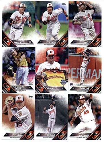 2016 Topps Update Baltimore Orioles Team Set of 19 Cards: Manny Machado(#US1), Pedro Alvarez(#US8), Hyun-Soo Kim(#US25), Steve Pearce(#US51), Steve Pearce(#US64), Wade Miley(#US77), Brad Brach(#US101), Matt Wieters(#US104), Joey Rickard(#US105), Mark Trumbo(#US118), Chris Davis/Manny Machado(#US120), Nolan Reimold(#US155), Matt Wieters(#US163), Hyun-Soo Kim(#US182), Yovani Gallardo(#US184), Mark Trumbo(#US191), Mark Trumbo(#US196), Brad Brach(#US197), Zach Britton(#US222)