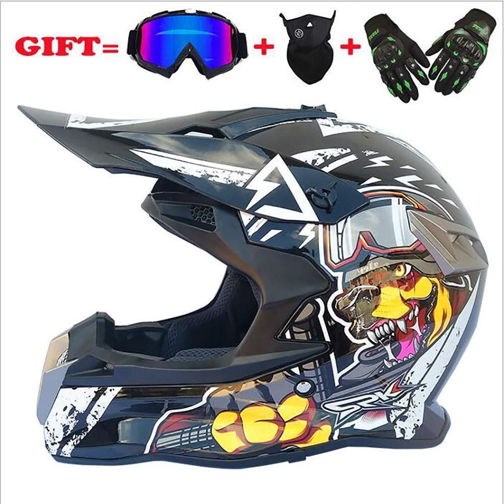 YGFS Erwachsene Motocross Helme Herren ATV Scooter Full Face Helm D.o.t Zertifiziert Mit Brille Handschuhe Maske stumm Black Knight