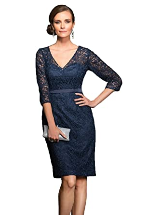 2bad688a4c fenghuavip Women s Lace V-Neck Knee Length Mother Of The Bride Dresses Navy  Size 2