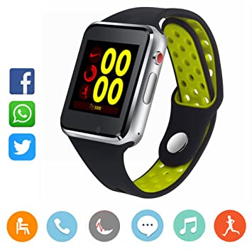 CatShin - Reloj inteligente con soporte para tarjeta SIM TF, reloj de pulsera con cámara, podómetro, mensaje, sincronización de mensaje, reproductor ...