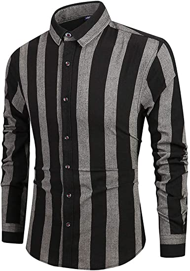 YYear Mens Slim Business Long Sleeve Vertical Stripe Lapel Collar Button Down Blouse Shirt