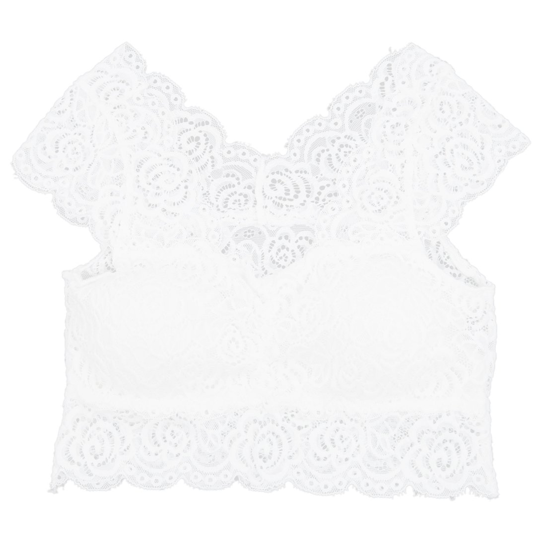 SODIAL(R)Womens Lady Lace Vest Sleep Bra Crop Tops Sports Padded Boob Tube Leisure White 052022