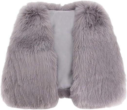 Mocure Girl Faux Wool Waistcoat Vest Jacket Outwear Winter Tops for 5-10 Years Old