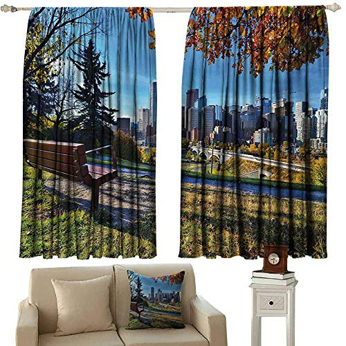 Decorative Curtains for Living Room City Park Bench Overlooking The Skyline of Calgary Alberta During Autumn Tranquil Urban Blackout Draperies for Bedroom Living Room W72 xL45 Multicolor
