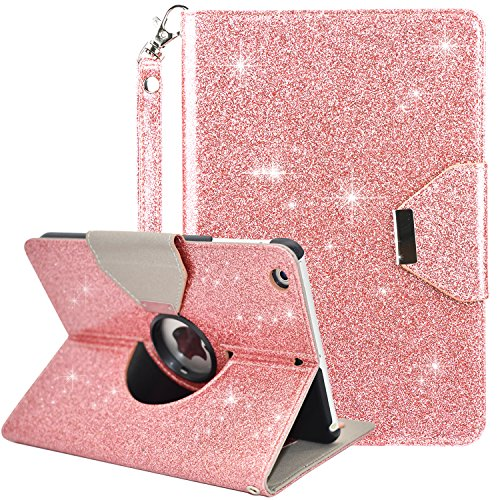 Dailylux iPad Mini Case,iPad Mini 2 Case,iPad Mini 3 Case,360 Degree Rotating Stand Bling Case Cover with Card Slots for Apple iPad Mini 1/2/3 w/Auto Sleep/Wake Function-Rose Gold