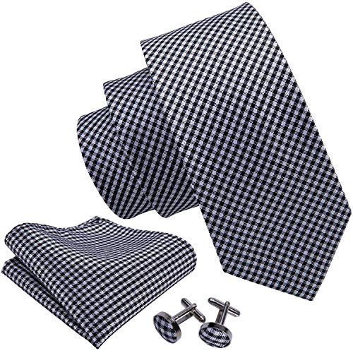 Barry.Wang Ties Check Mens Necktie Set with Hanky Cufflinks Classic Black White