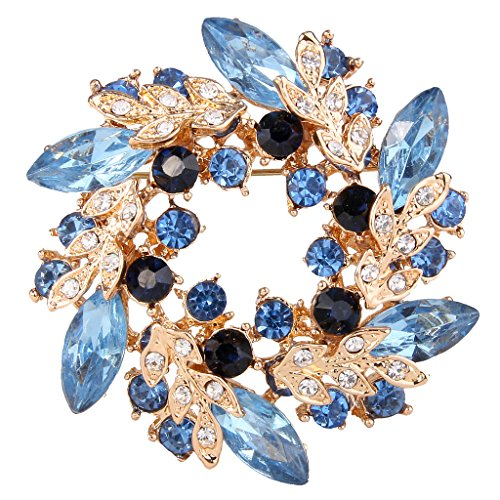 EVER FAITH Gold-Tone Austrian Crystal Wedding Flower Wreath Brooch Pin Blue Sapphire Color - Austrian Crystal Flower