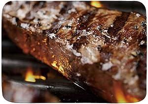 "SUHETI 100% Polyester Bath Mat Rug,NY Strip Steak Grilled Barbecue,Non-Slip Absorbent Ultra Soft Bathroom Decor Mats,29.5""X17.5"""