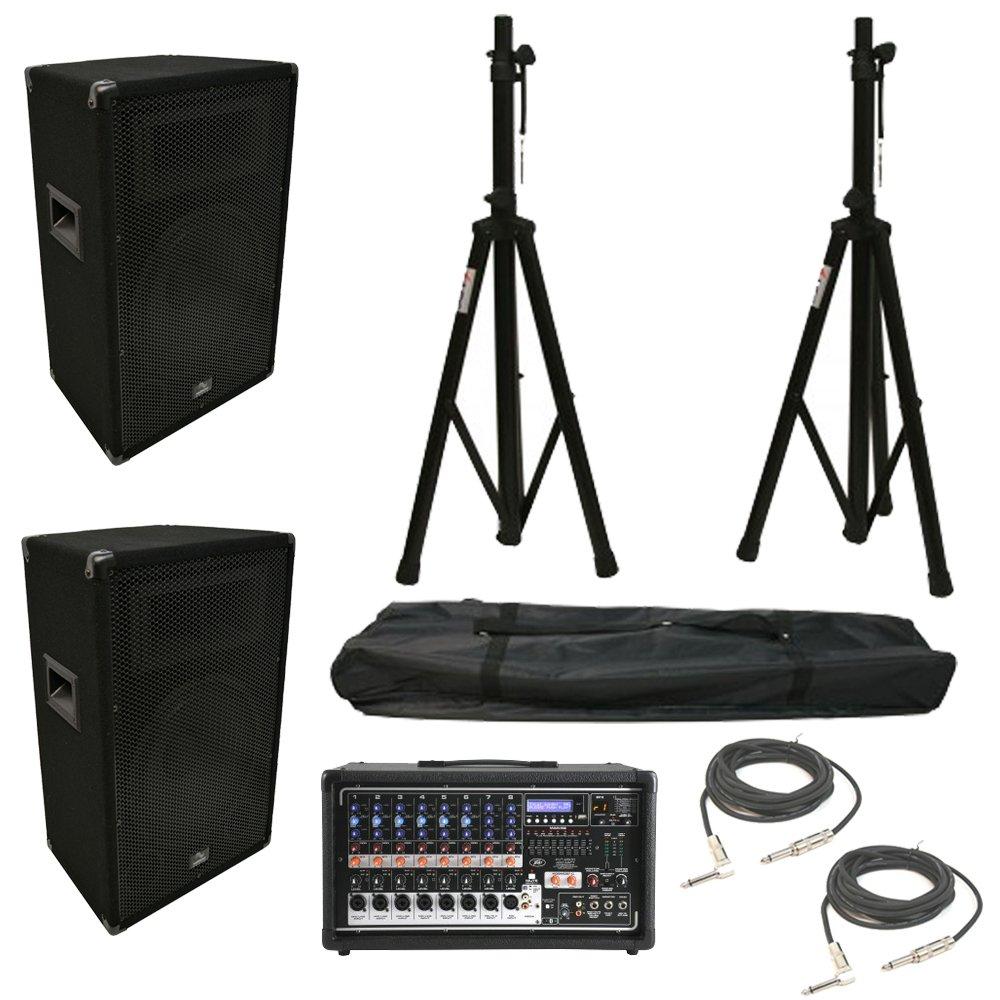 (2) Harmony HA-V12P 12'' DJ PA Speaker Peavey PVi 8500 Active Mixer Cables Stands by Harmony Audio