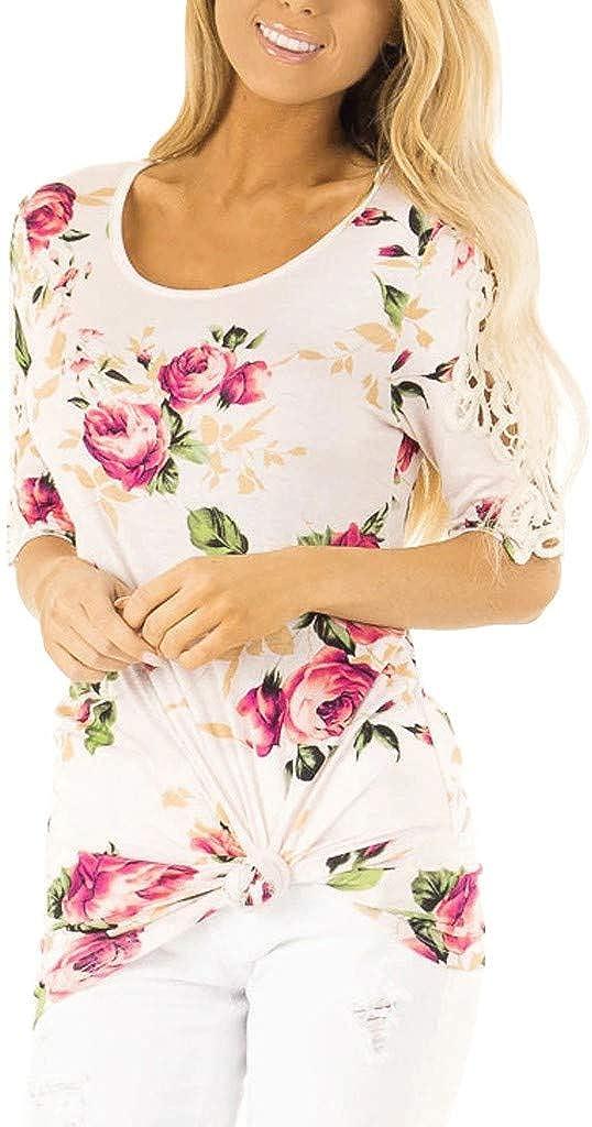 KUKICAT Fashion Women Short Sleeve Flowers Print Lace Tee Casual Floral T-Shirt Tops
