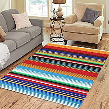 Semtomn Area Rug 5' X 7' Colorful Stripes and Mexican Pattern for Cinco De Mayo Home Decor Collection Floor Rugs Carpet for Living Room Bedroom Dining Room
