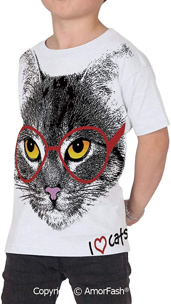 Cat Lover Decor Girls Short-Sleeve Midweight T-Shirt,Polyester,Wise Nerd Cat wit