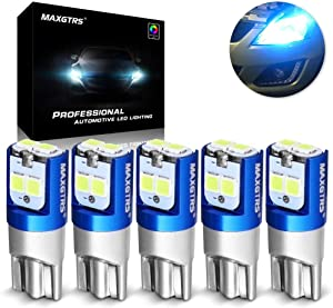 MAXGTRS 194 168 W5W T10 LED Bulb 3030 SMD Chips Blue Error Free CANBUS Use for The Width Light Warning Light Reading Light(Pack of 5)