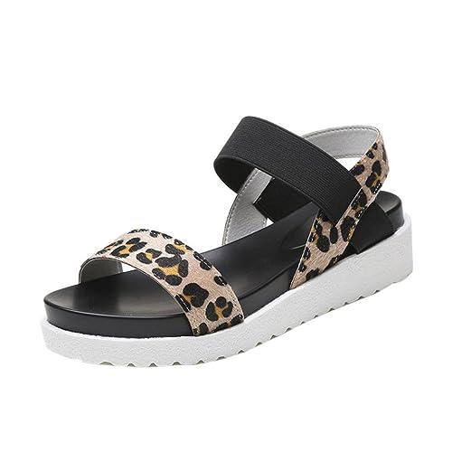 Sandalen mit Keilabsatz FNKDOR Damen Mode Offene Outdoor Kunstleder Schuhe