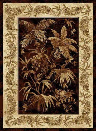 United Weavers of America China Garden Collection Aruba Heavyweight Heatset Olefin Rug, 7-Feet 10-Inch by 10-Feet 6-Inch, Black