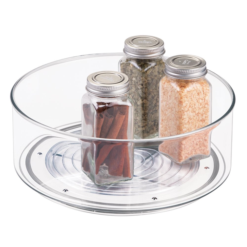 mDesign Lazy Susan Turntable Food Storage Container for Cabinets, Pantry, Refrigerator, Countertops, BPA Free - Spinning Organizer for Spices, Condiments, Baking Supplies - 9'' Round, Clear
