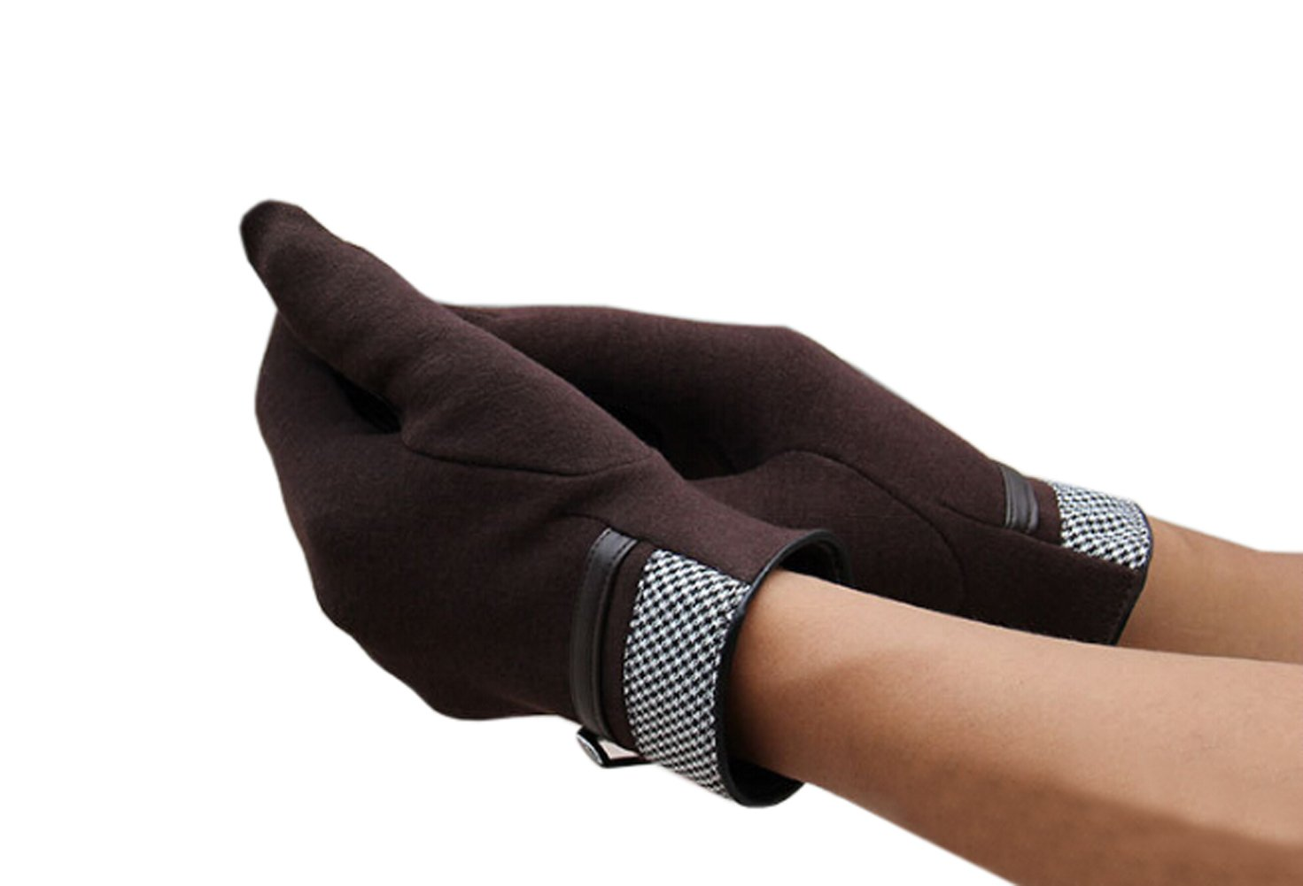 Olyer Men's Mirco Velvet Gloves Warmer Gloves With Touch Screen Finger Tip (Coffee) by Olyer (Image #3)