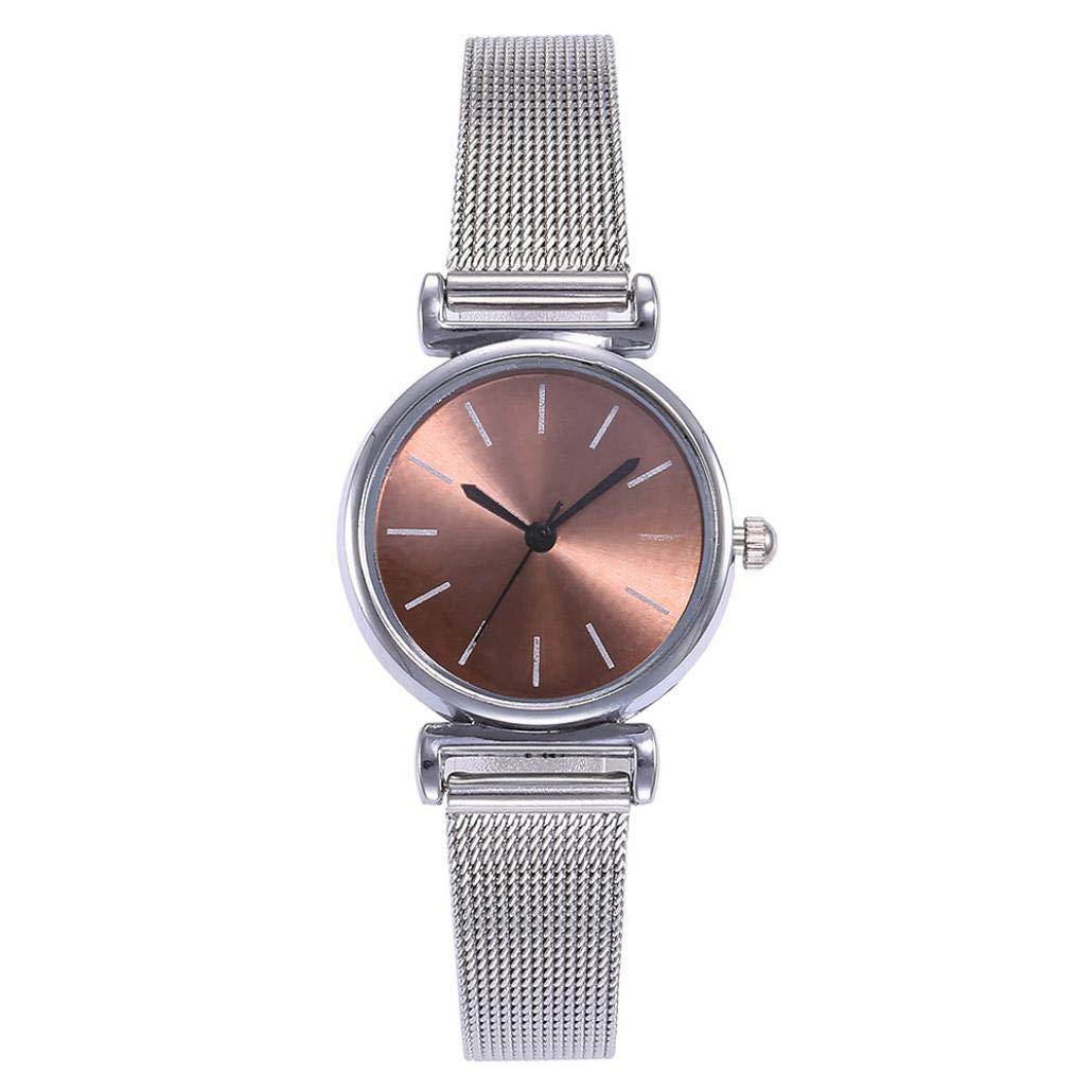 Women's Watch, Iuhan Women Stainless Steel Band Ladies Quartz Wristwatches Women Mesh Clock Bracelet Watch Analog Wrist Watch (Brown)