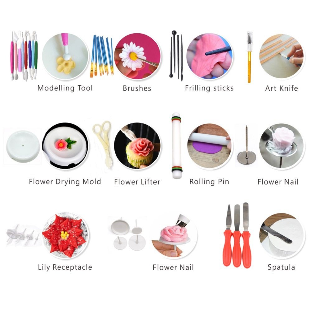 AK ART KITCHENWARE Gum Paste and Icing Leaf and Flower Tool Kit 75 Flower&Foliage Cutters 26 Icing Piping Tool 1 Veining Board 1 Foam Pad 1 Rolling Pin 10 Brushes 4 Frilling Sticks 8 Modelling Tool by AK ART KITCHENWARE (Image #6)