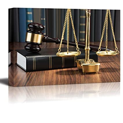 Canvas Prints Wall Art   Wooden Gavel On Book With Golden Scale On Table  Justice Concept