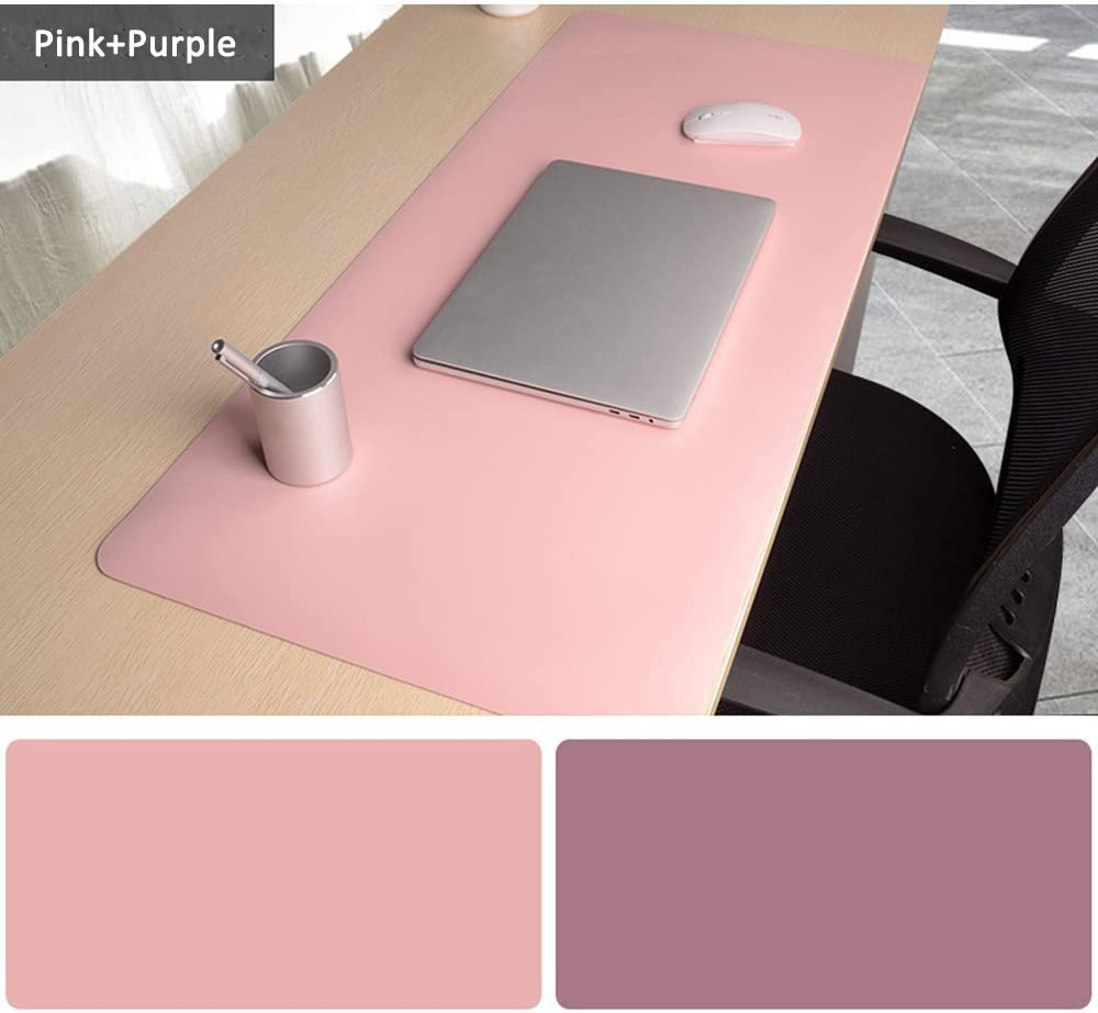 Alfombrilla para Ratón,900 x400x2mm Ultra fino Antideslizante e impermeable alfombrilla para escritorio del cuero de PU Alfombrilla con Doble cara-Rosa+Violeta