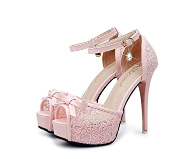 9fbaa698160b Pump Scarpin Ankel Strap Bowknot Thick Platform High Heeled Sandals Women s  Sweet Peep Toe Hollow Lace