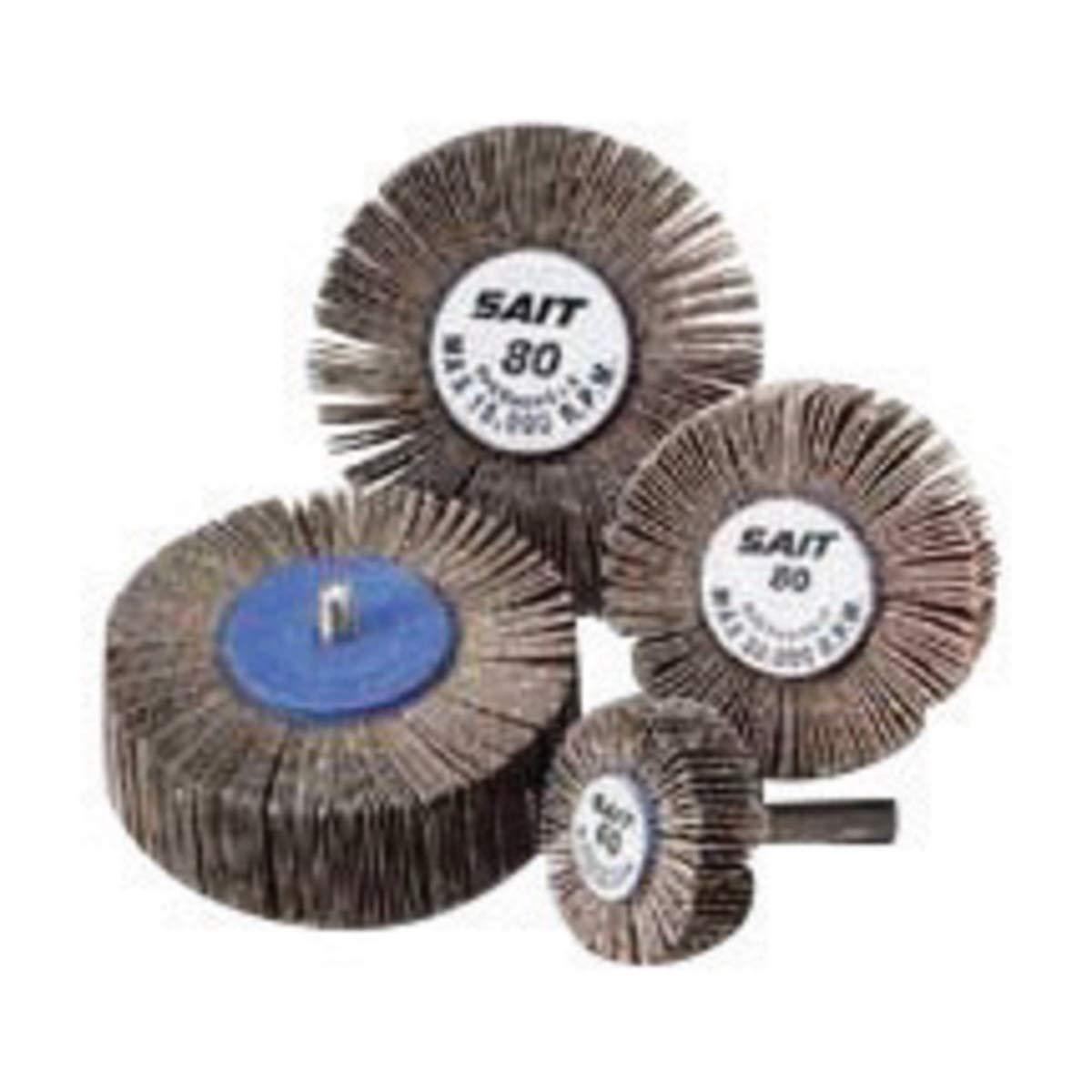 United Abrasives 3'' X 1'' X 1/4'' - 20 60 Grit 2A Aluminum Oxide Coated Flap Wheel - 120 Each/Case