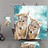 Uhoo Bathroom Suits & Shower Curtains Floor Mats And Bath Towels 158483354 Coyote pair against the blue winter sky. Animals in the wild. For Bathroom