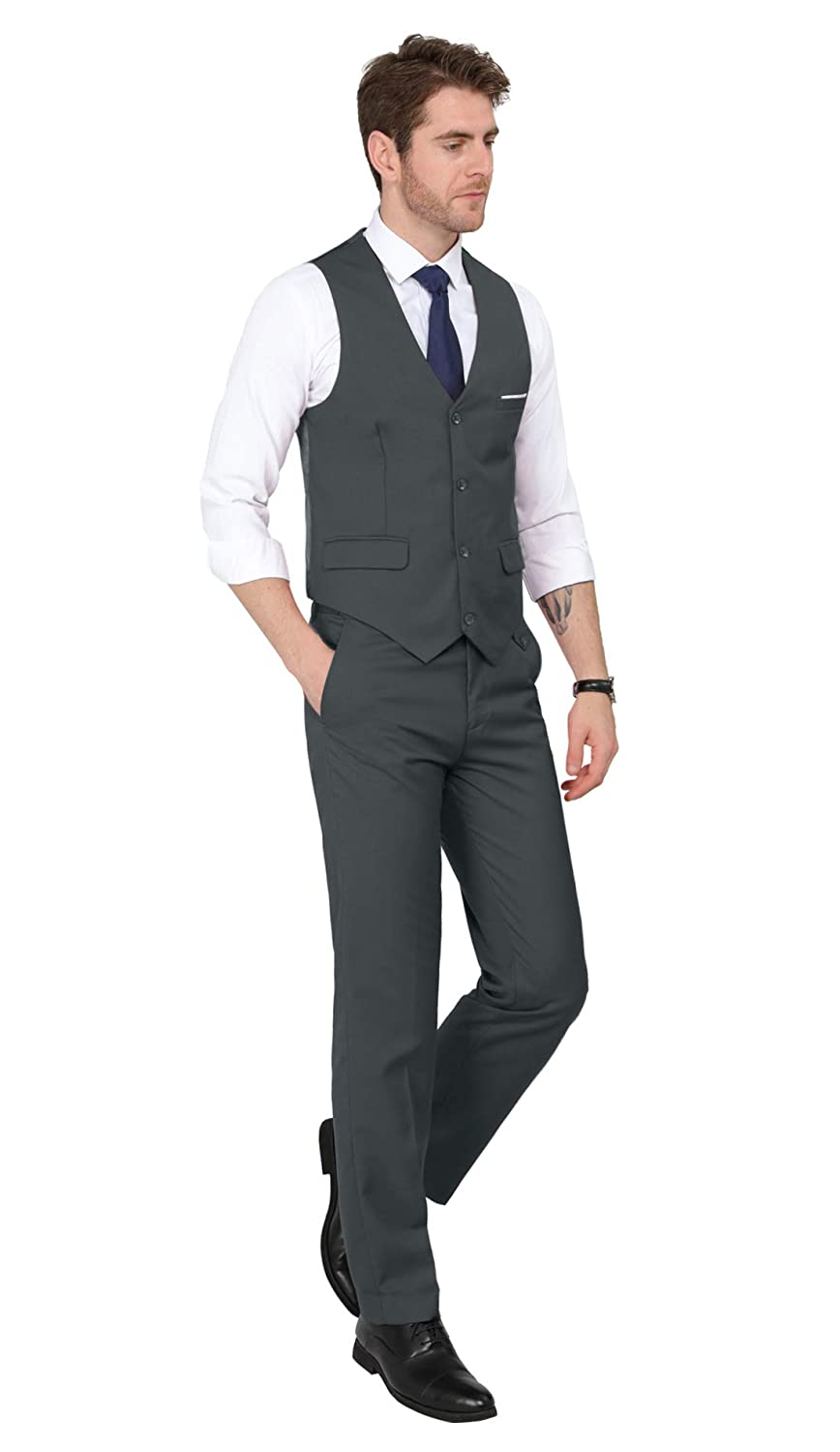MAGE MALE Mens 3 Pieces Suit Elegant Solid One Button Slim Fit Single Breasted Party Blazer Vest Pants Set