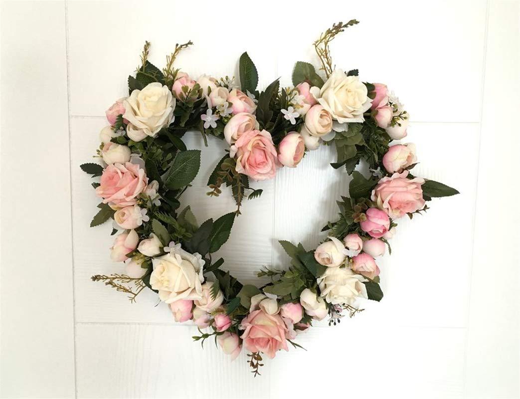Liveinu Artificial Handmade Wreaths for Front Door Flowers Arrangements Wedding Table Centerpieces Wreath Garland Blooming 12.5″ Inch Pink Rose Heart Shape Wreath 3