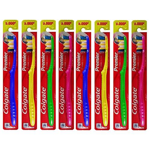 8 Pack Colgate Premier Classic Clean Deep Dental Cleanse Manual Toothbrush