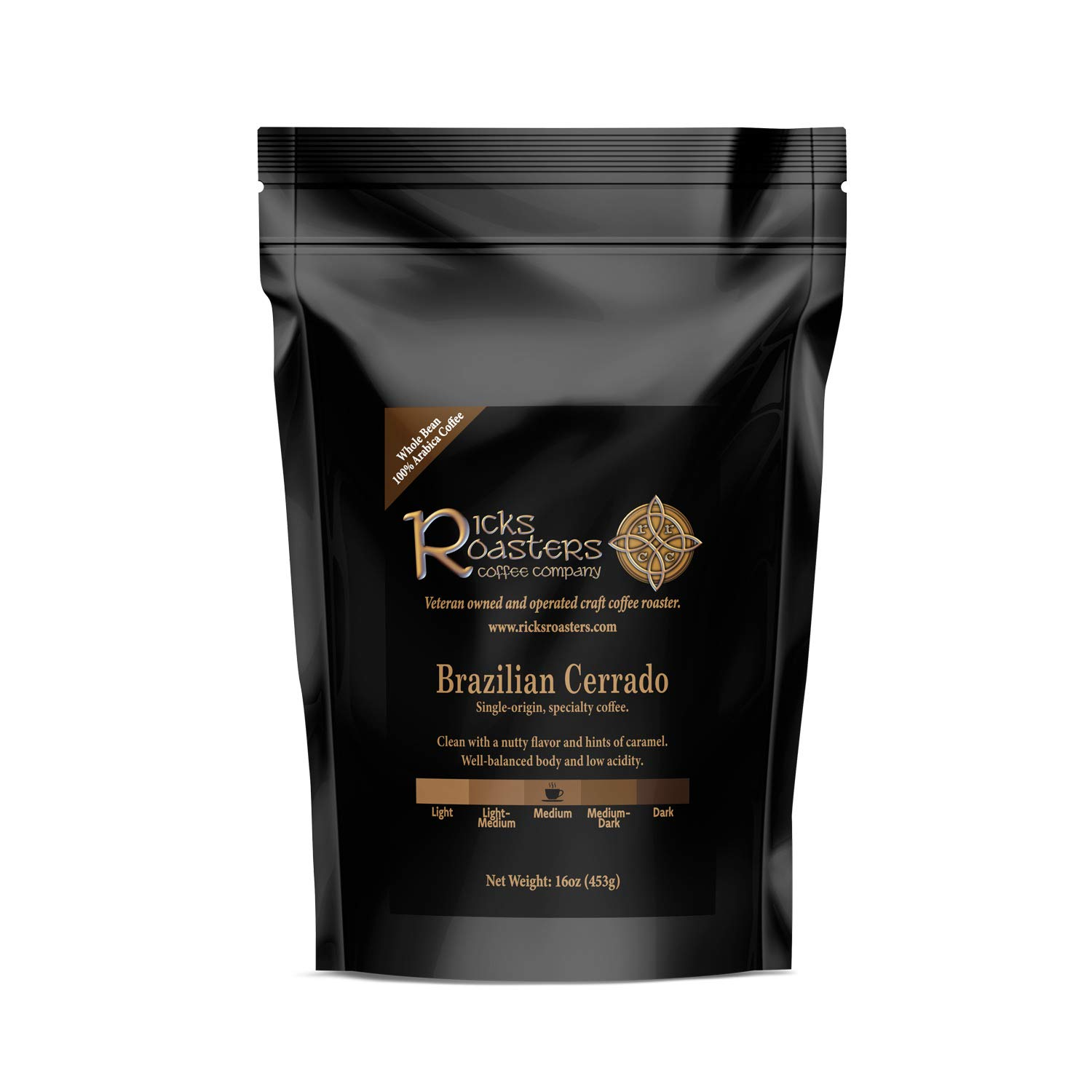 Ricks Roasters Coffee | Brazil Cerrado Single-Origin Specialty Coffee | 1 Pound (1 lb) Whole Bean | Fair Trade Medium Roast | USA Veteran Owned & Operated