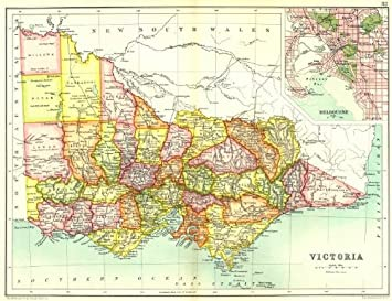 Amazoncom VICTORIA State Map Showing Counties Inset Map Of - Vintage maps melbourne