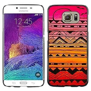 [Neutron-Star] Snap-on Series Teléfono Carcasa Funda Case Caso para Samsung Galaxy S6 [Resumen de tinta Arte Negro colorido de la puesta del sol rosada]