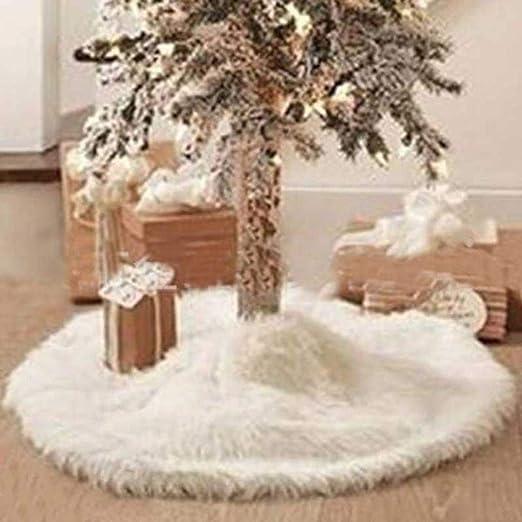 LASISZ 90 cm de Nieve Larga Falda del árbol de Navidad Base del ...
