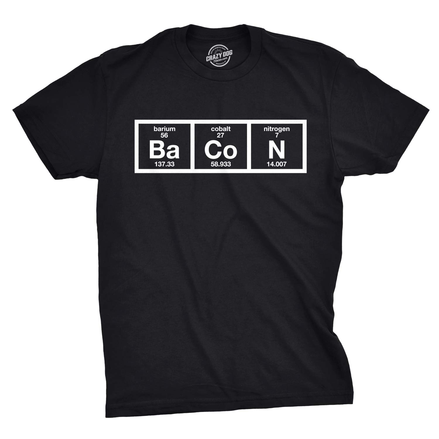 3197ca10a Amazon.com: Mens The Chemistry of Bacon T Shirt Funny Brunch Periodic Table Science  Tee: Clothing