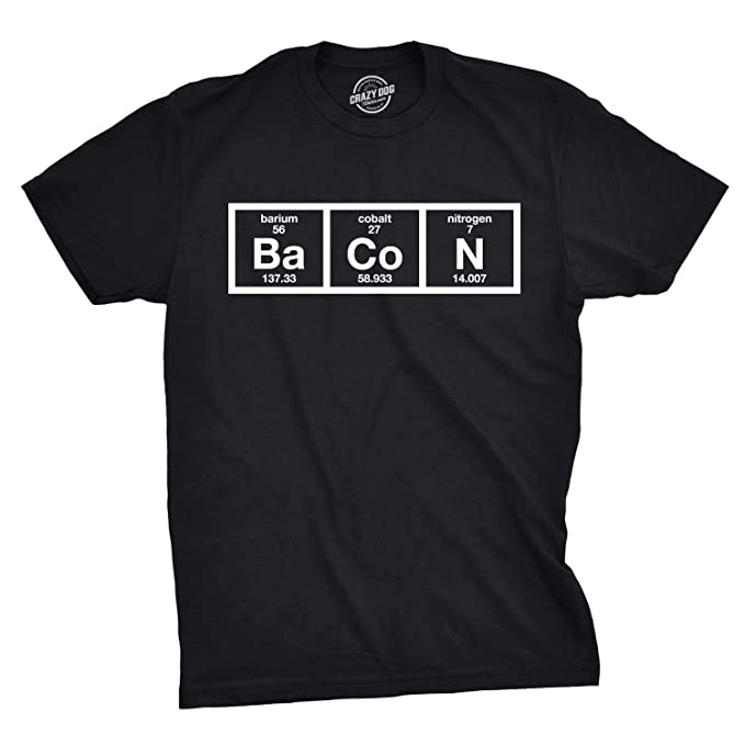 583864fe Amazon.com: Mens The Chemistry of Bacon T Shirt Funny Brunch Periodic Table  Science Tee: Clothing