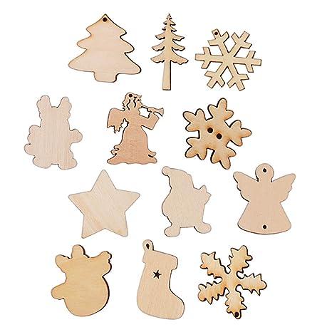 100pcs Adorno Madera Arbol de Navidad Ornamento Colgante Decoracion Rebanadas Scrapbooking Bricolaje DIY Artesanía