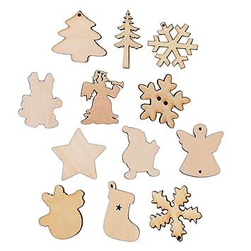 100 Stück Weihnachtsanhänger Holz natürliche Scheiben Weihnachten ...