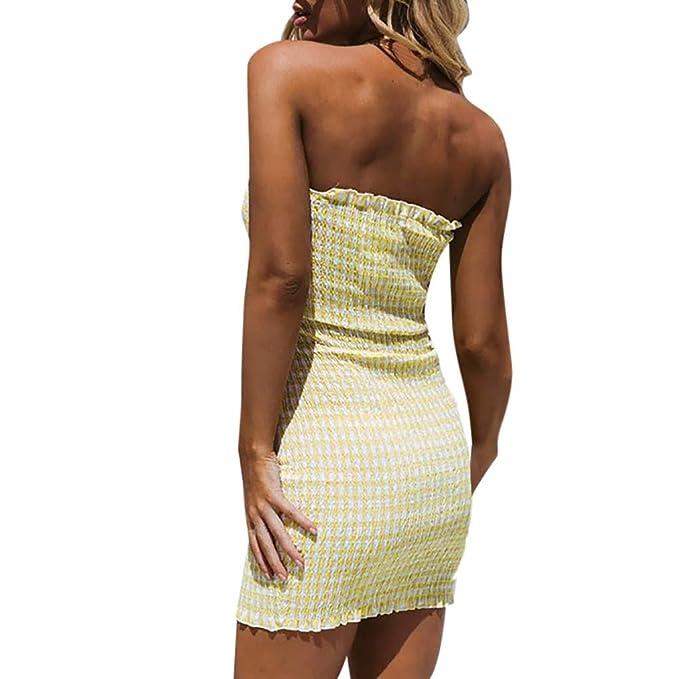 TIFIY Verano Moda 2019 Vestido de Tubo Superior Vestidos Ajustada Sexy Mujer Cadera Casual Mujer Elástica Cuello de Una Palabra para Fiesta/Playa: ...