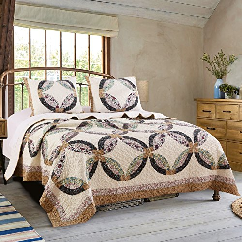(Greenland Home Fashions Sweet Caroline Authentic Patchwork Quilt Set)
